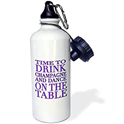 3dRose wb_163951_1 Time To Drink Champagne and Dance on The Table, Purple Sports Water Bottle, 21 oz, White