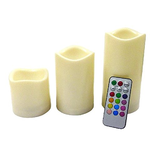 Led Flameless Flickering Light Candle Candles With Remote Timer 3 Pc Set Programable Changing Colors
