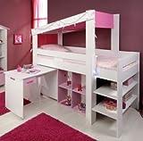 Mdchen-Kinderzimmer-Hochbett-90x200-mit-Schreibtisch-Weiss-Pink-Parisot