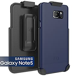 Samsung Galaxy NOTE 5 Case & Belt Clip Holster [Encased®] Ultra-Thin (SlimShield Series) Hybrid Shell (Deep Blue)