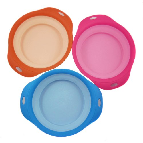 Alfie Pet By Petoga Couture - Set Of 3 Jad Silicone Pet Expandable/Collapsible Travel Bowl - Size: 3.5 Cups, Colors: Blue, Orange And Red front-1003201