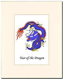 8x10 Year of the Dragon Print in an Antique White Mat (Blue)