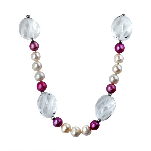 8-8.5mm Freshwater Cultured White and Lavender Lilac Pearl and Etched Spiral Crystal Necklace Accented with Sterling Silver Beads and Clasp, 18