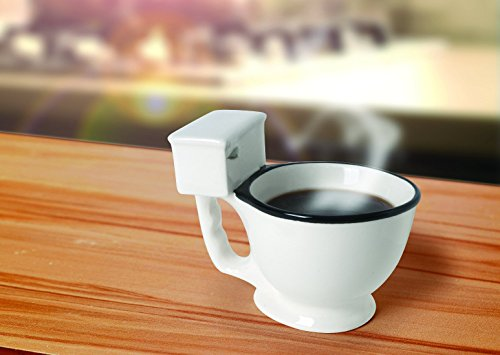 Toilet Bowl Mug For Coffee, Tea, Beverages And More - 14-Ounce Unique Novelty Ceramic Mug by Ideas In Life