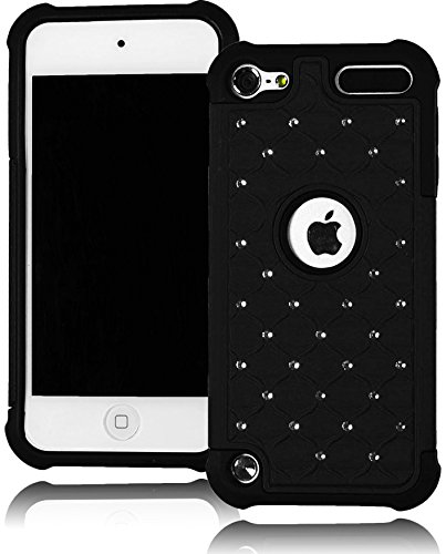 Bastex Heavy Duty Hybrid Case For Apple Ipod Touch 5 - Black Bling Design Shell Cover front-965785