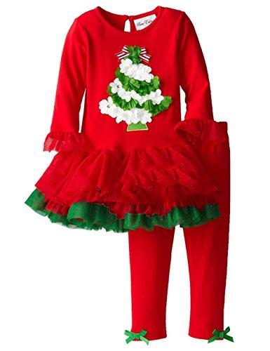 Tkria Bambini Set di Natale Modello albero camicia+pantaloni 3-4anni