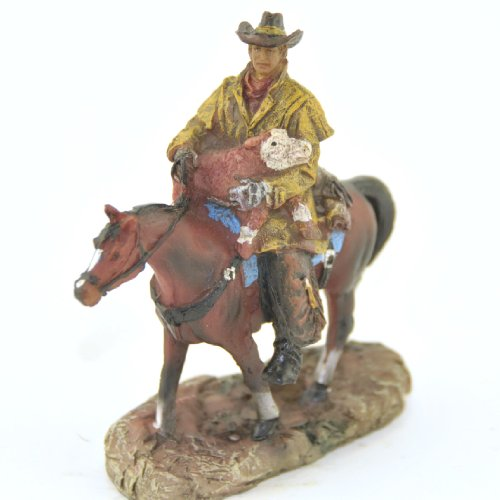 Cowboy with Baby Calf on Horse, Western Collectible Figure, 4.5-inch