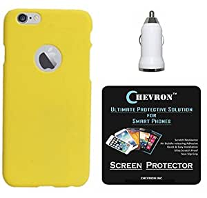 Chevron Hard Back Cover Case for Apple iPhone 6S Plus with HD Screen Guard & USB Car Charger (Yellow)