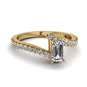 0.65 Ct Emerald Cut:Very Good Diamond Zee Shaped Engagement Ring Pave Set SI2-H 14K