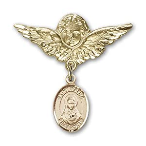 14K Gold Baby Badge with St. Rafta Charm and Angel with Wings Badge Pin