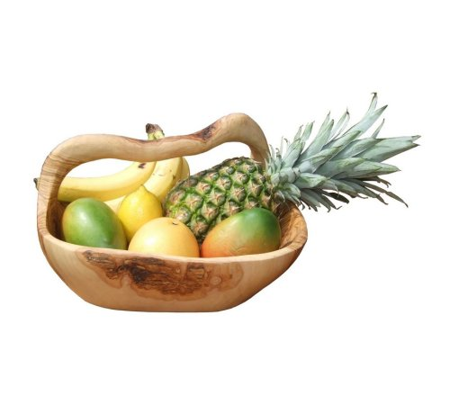 Olive Wood Fruit Basket - 35cm