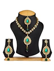 Ethnic Jewels Green Alloy Jewellery Set For Women