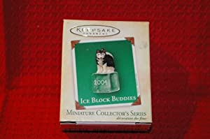 Hallmark Keepsake Ornament ICE BLOCK BUDDIES HUSKY PUPPY Miniature -#5 in Series (2004) QXM5141