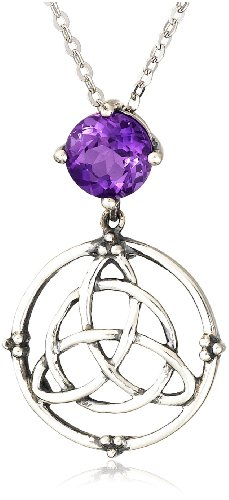 Sterling Silver Round-Shaped Amethyst Celtic Pendant Necklace with Silver Chain, 18.5