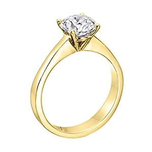 GIA Certified 14k yellow-gold Round Cut Diamond Engagement Ring (0.77 cttw, I Color, VS2 Clarity)
