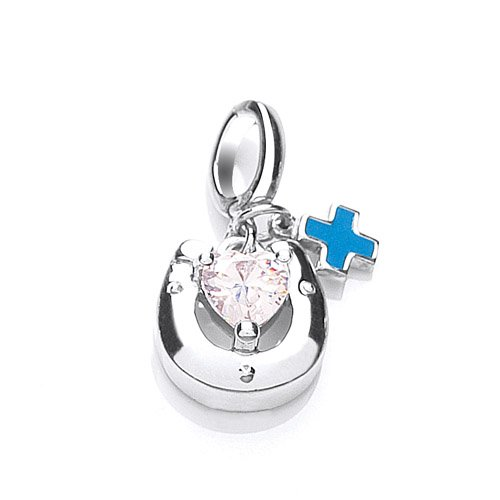 The Blue Cross Animal Charity Silver Horseshoe Charm with Heart Shaped Cubic Zirconia and Blue Enamel Blue Cross Tag