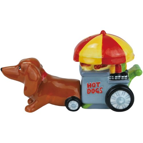 Westland Giftware Doxie's Hot Dog Cart Magnetic Ceramic Salt and Pepper Shakers, 4-Inch