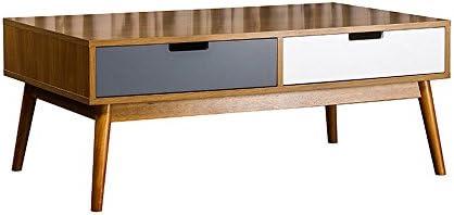 HOME STORIES 13621 Boden Table Basse en Kit avec 2 Tiroirs Scandinave Naturel/Tiroirs Gris/Blanc Mat 100 x 60 x 40 cm