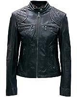 Ladies Real Leather Black / Brown Biker jacket size 8 to 16