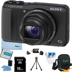 Sony Cyber-shot DSC-HX20V HX20 DSCHX20V 18.2 MP Exmor R CMOS Digital Camera with 20x Optical Zoom and 3.0-inch LCD (Black) BUNDLE with Sony 16GB Card, Spare Battery, Card Reader, Case, Mini Tripod, LCD Screen Protectors, Lens Cleaning Kit, Microfiber Clea