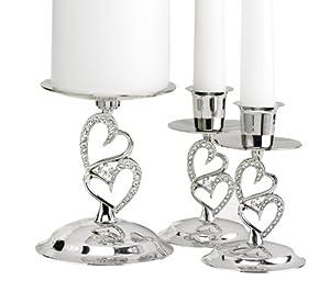 Hortense B. Hewitt Wedding Accessories Nickel-Plates Sparkling Love Candle Stands, Set of 3