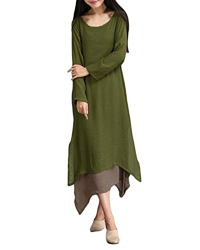 ZANZEA Women's Vintage Long Sleeve Boho Cotton Linen Shirt A-line Casual Loose Long Maxi Dress (UK 14, Army Green)
