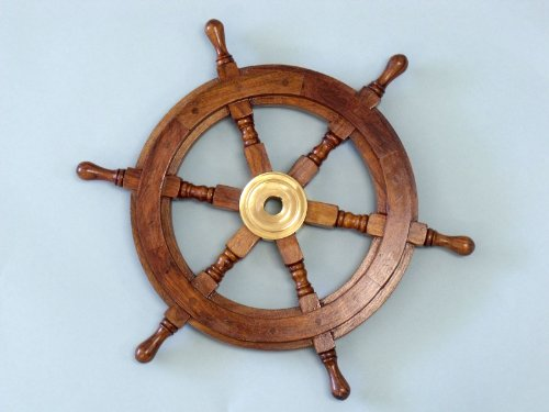 "Wooden Ship Wheel 15"" - Ship Wheels Wooden & Brass - Nautical Decorative Gift Solid Brass Home Nautical Decor - Executive Promotional Gift"