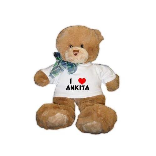Amazon.com: Plush Brown Teddy Bear (Dean) with I Love Ankita T-shirt