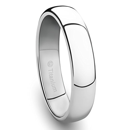 4MM Titanium Platinum-Plated Ring Classic Wedding Band with Polished Finish [Size 7.5] (Platinum 4mm Band compare prices)