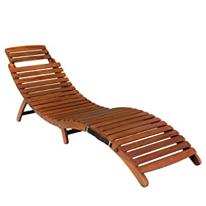 Amazon.com: Lisbon Wood Outdoor Chaise Lounge: Patio, Lawn & Garden