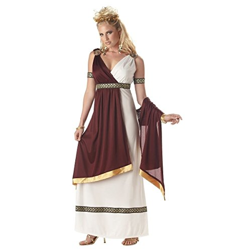 [GSG Roman Costume for Women Adult Empress or Goddess Halloween Fancy Dress] (Plus Size Dark Mad Hatter Costume)