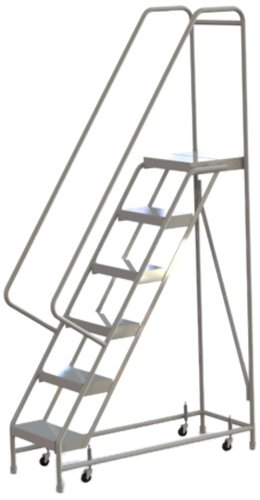 Tri-Arc WLAR106164 6-Step All-Welded Aluminum Rolling Industrial & Warehouse Ladder with Handrail, Ribbed Tread, 16-Inch Wide Steps