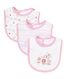 SpaSilk Baby-girls Newborn 3 Pack Butterfly Teething Bib, Pink, One Size