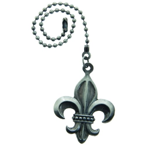 Lazart® Fleur-de-Lis Pewter Pull Chain for Ceiling Fans, Lamps & Lighting (Fleur De Lis Fan Pull compare prices)