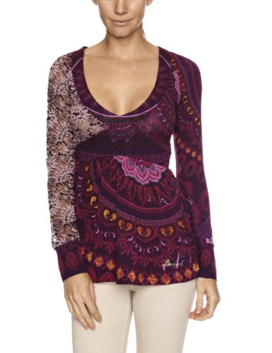 Desigual Lota Patterned Womens T-Shirt Purple Size 8