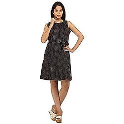 PRAKUM Women's Cotton Regular Fit Dress Black (Large)