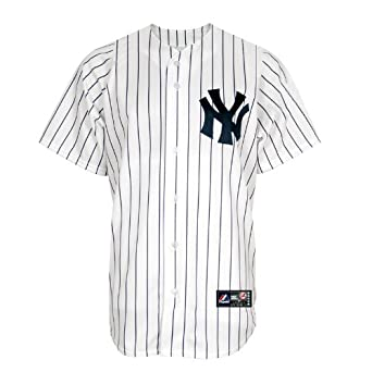 MLB New York Yankees Mariano Rivera White Navy Pinstripes Home Short Sleeve 6 Button... by Majestic