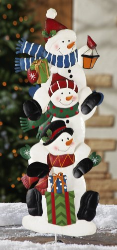 Stack Of Snowmen Holiday Outdoor Garden Stake