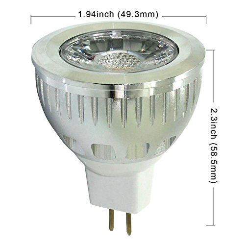 Shine Glory Lighting Led Mr16 6W Dimmable Cob 100% Original Epistar Chip Ultra Bright Led Lights Light Bulbs Lamp 55W Equivalent Replacement Perfect Standard Size Lighting Spotlight Floodlight (Warm White 3000K, Pack Of 6)