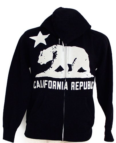California Flag Silhouette Zip-up Hoody by Dolphin Shirt Company - Black (XX-Large)