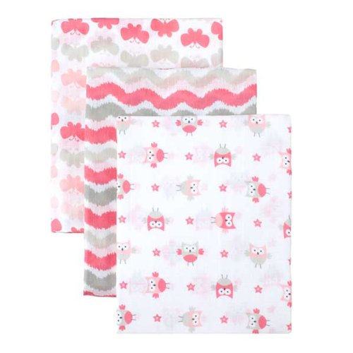 Safe Sleep 3Pk Muslin Swaddle Blanket - Pink Combo