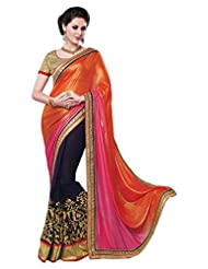 RadadiyaTRD Multi Colored Embroidered Faux Georgette Saree With Blouse Piece