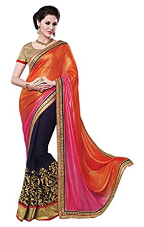 RadadiyaTRD Multi Colored Embroidered Faux Georgette Saree with Blouse Piece available at Amazon for Rs.999