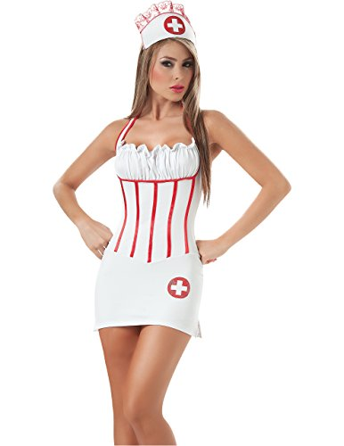 Sexy Open Back Nurse's Costume in White w/ Red Accents