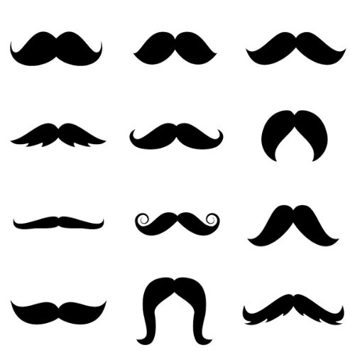 Funny Face Disguises Mustaches - Assorted Pack of 6 - 1