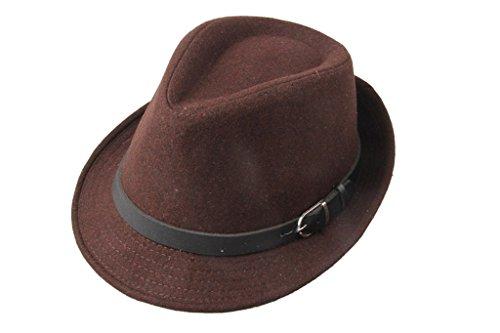 Dantiya Men's Formal Triby Fedora Hat Caps with Belts Brown