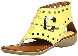 Craze Shop Girls Yellow Artificial Leather Sandals - 8 UK