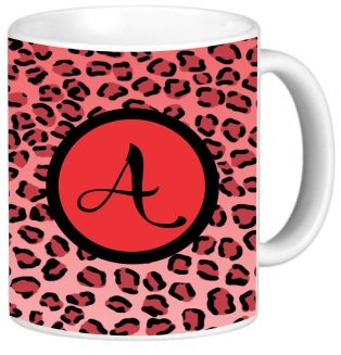"""Rikki Knighttm Letter """"A"""" Initial Red Leopard Print Monogrammed Design 11 Oz Photo Quality Ceramic Coffee Mug Cup - Fda Approved - Dishwasher And Microwave Safe"""