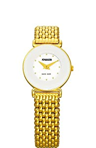 Jowissa Women's J3.020.S Elegance 24 mm Gold PVD White Dial Steel Watch