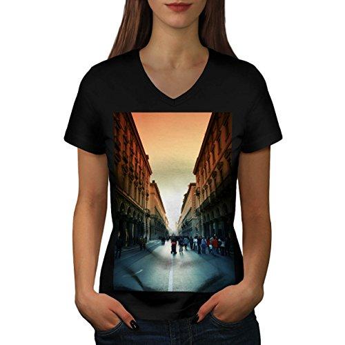 town-street-alley-old-city-walk-women-new-black-s-2xl-v-neck-t-shirt-wellcoda
